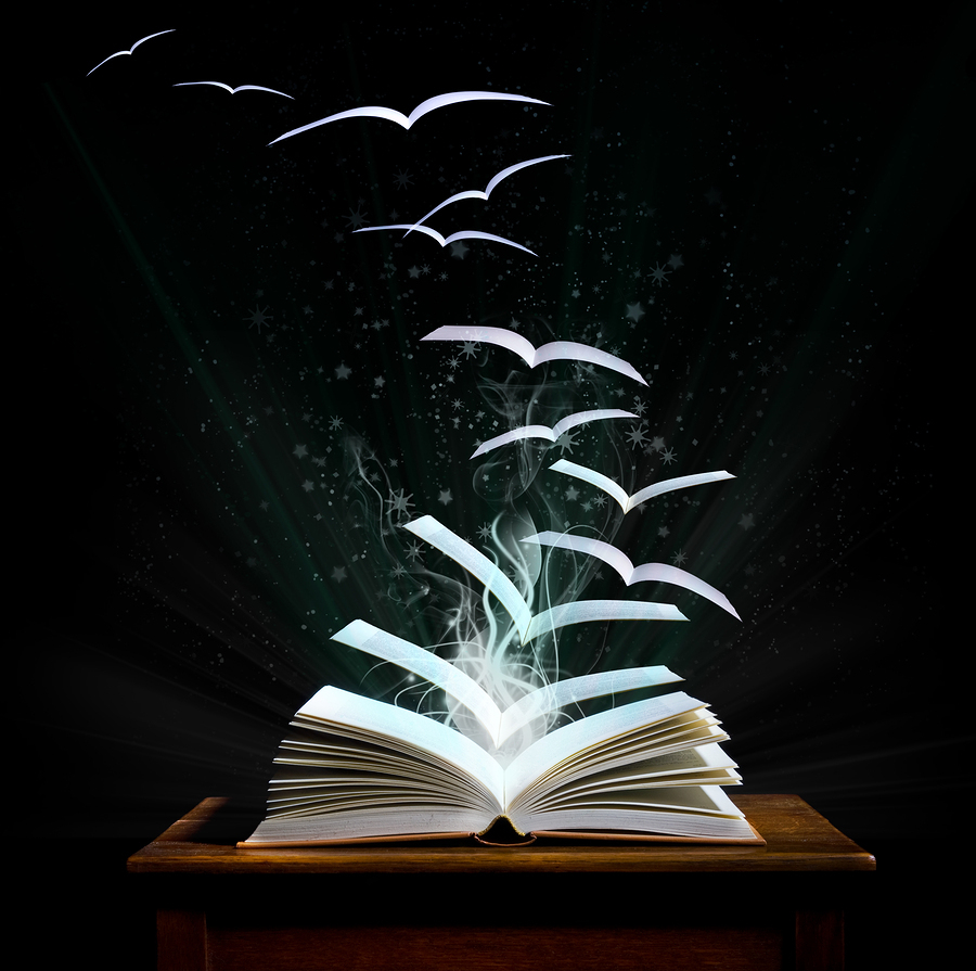 Open book with pages turning into birds and flying away